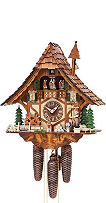 German Cuckoo Clock 8-day-movement Chalet-Style 16.00 inch - Authentic black by
