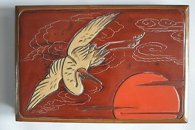 Japanese Flying Pelican Red Lacquer Photo Album/scrap Book - 24 Pages - Unused