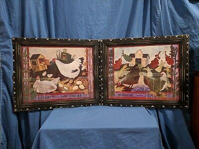 Pair of Anna Pugh Signed Folk Art Framed Prints. Chickens, Hens & Roosters