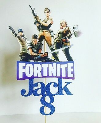 Fortnite inspired cake topper personalised any name / age party supplies
