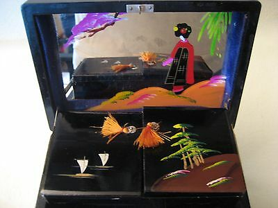 Vintage Hand Painted Musical Oriental Jewelry Box - Black Laquer