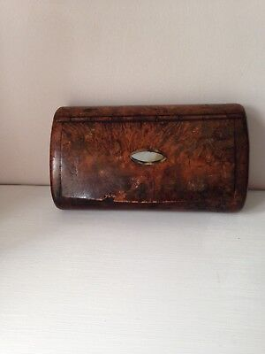 Antique Carved Walnut Snuff Box With Mother Of Pearl Inlayed On Lid