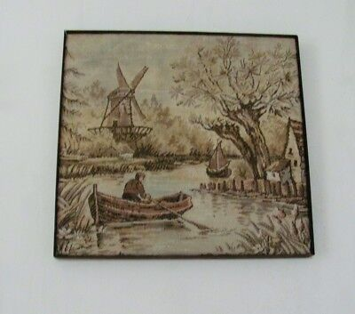 "Vintage Dutch Landscape Tapestry from UK stretched and ready to be hung, 15""x16"""