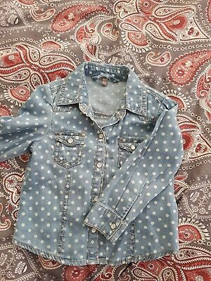 Primark Denim Co Girl Blue Spotty Cotton Shirt Size 2-3years
