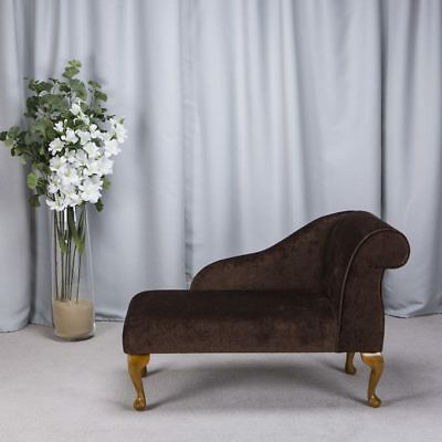 """41"""" Small Chaise Longue Lounge Sofa Bench Seat Chair Chocolate Brown Fabric UK"""