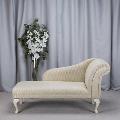 "52"" Large Chaise Longue Lounge Sofa Bed Seat Chair Woburn Trellis Gold Fabric UK"