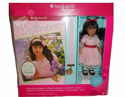 American Girl Beforever Samantha Doll with 3 Book Set Mini Doll Stand Bookmark