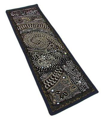 "30X10"" Indian Cotton Beaded Patchwork Tapestry Kundan Decor Art Wall Hanging A;6"