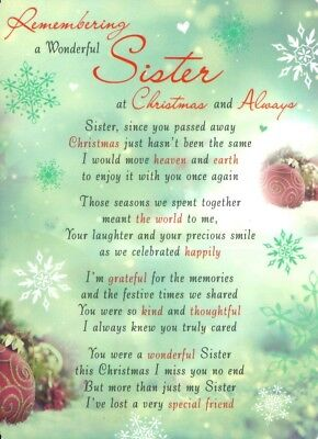 CHRISTMAS GRAVE CARD REMEMBERING A WONDERFUL SISTER Graveside Memorial Funeral