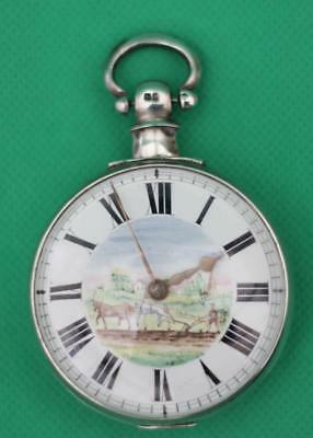 English Solid Silver Fully Hallmarked Plough The Field Verge Fusee Pocket Watch