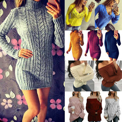 Damen Winter Pullover Pulli Cardigan Strickpullover Top Longtop Freizeit Sweater