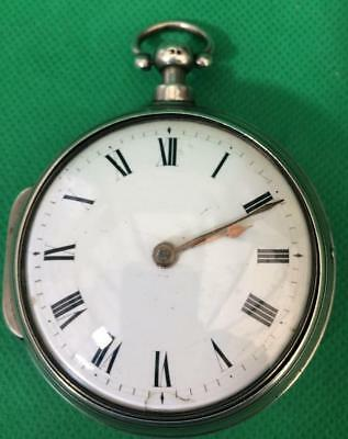 Wm Hills Milton 1821 Solid Silver Verge Fusee Pair Case Gentleman's Pocket Watch