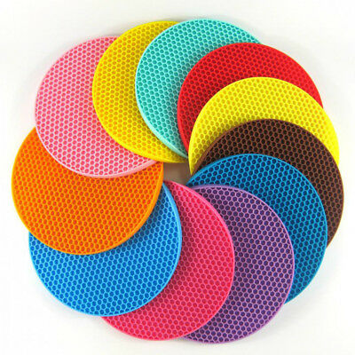 1PC Silicone Heat Insulation Placemat Plate Coaster Round Pad Cup Table Bowl Mat