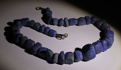 Large Ancient Carved Lapis Bead Necklace - No Reserve 03231
