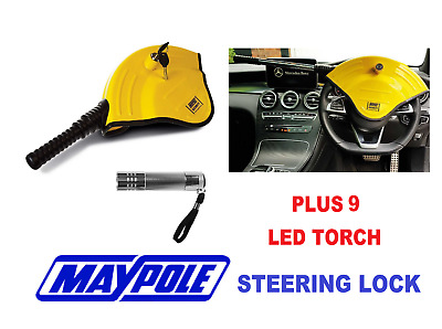 Maypole Car Anti Theft Security Steering Wheel Lock MP5494 & 9 LED Torch