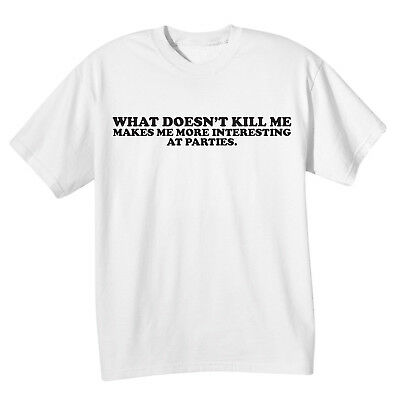 What On Earth Men's What Doesn't Kill Me Crew Neck T-Shirt Top - Cotton Tee