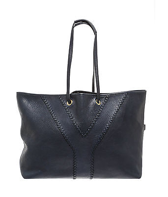 818037d21a Yves Saint-Laurent YSL Neo Reversible Calfskin Leather Tote Bag Purse Navy  $1495