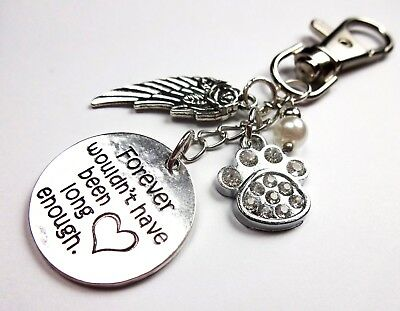 Pet memory keep sake keyring paw print cat dog loss gift present bag charm