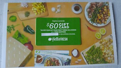 Hello Fresh $60 Gift Card ($20 Off Three Different Orders) - Electronic Delivery