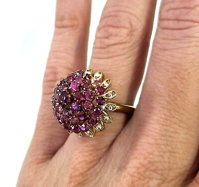 Women's Vintage Estate 14K Yellow Gold Ruby Cluster Cocktail Statement Ring Sz 7