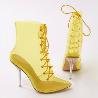 Women Pointy Toe Lace up Stilettos High Heels Transparent PVC Ankle Boots Shoes