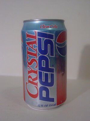 CRYSTAL PEPSI ( CLEAR COLA ) TOP OPENED HARD TO FIND CAN!! only 3 left