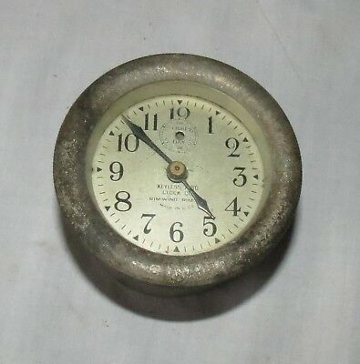 Keyless Auto Clock Co Rim Wind 8-Day Clock For Antique Cars   Silver Face