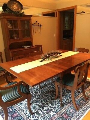 Willett Solid Cherry Dining Room Set-drop leaf table, china hutch, 6 chairs