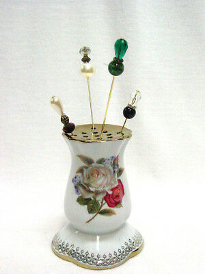 Ceramic Hat Pin holder with four hatpins Vintage Victorian Style New