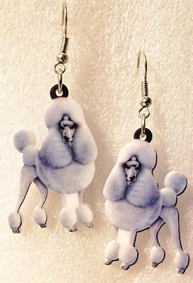 Poodle Silver Dog Realistic Double-Sided Silver Hook Earrings Acrylic Jewelry