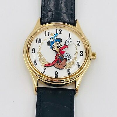 1e06e916bdc2 DISNEY TIME WORKS Vintage Mickey Mouse Sorcerer Apprentice Watch Black Band  Rare -  149.95