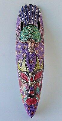 """Tribal Mask Wood Hand Carved Dot Paint Aboriginal Art Decor Indonesia 20"""" New"""