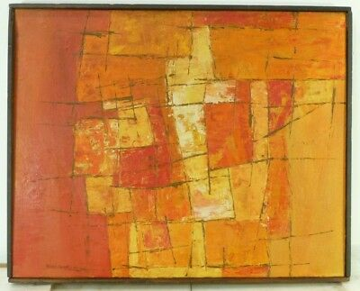 VINTAGE ABSTRACT MODERNIST OIL PAINTING Mid Century Modern Signed 1967