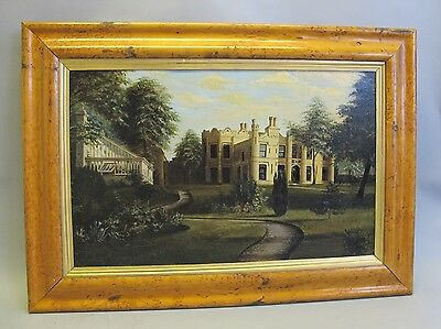 Superb Continental Oil Painting of GREENHOUSE & CHATEAU  c. 1901  Antique