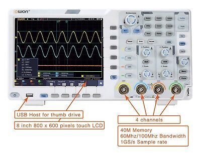 OWON XDS3204AE 200MHz 4 CH 14bits  W/Touch/I2C/SPI / RS232 decoding / CAN dec