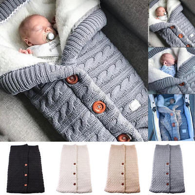 Newborn Infant Baby Swaddle Wrap Sleeping Bag Warm Blanket Knit Crochet 4 Colors