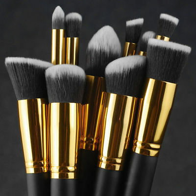 10Pc-Makeup-Brushes-Tool-Set-Cosmetic-Eyeshadow-Face-Powder-Foundation-Lip-B XG