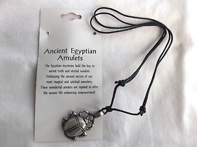Egyptian amulet Scarab fine   pewter Pendant adjustable cord  Necklace US seller