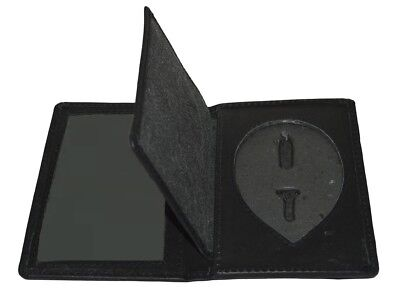 Police Security Genuine Leather Recessed Shield Badge WALLET with ID Holder