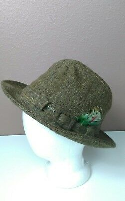 Vintage Mens Stetson Brown Fedora 100% Wool Tweed Hat feathered Sz 7 Made USA