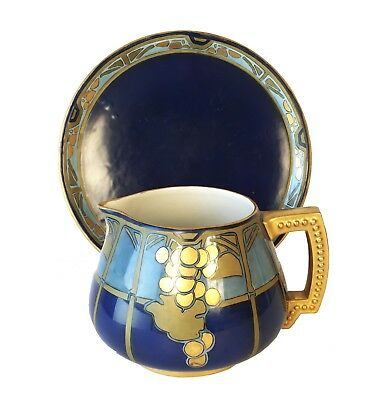 Antique Hand-Painted Pitcher and Tray, Jean Pouyat Limoges (JPL) France