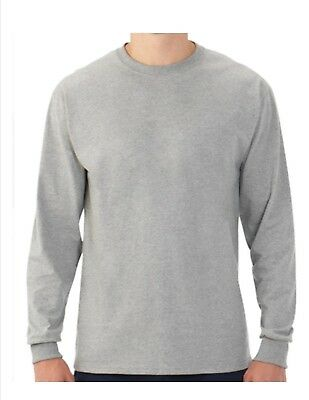 Mens Fruit of the Loom Platinum EverSoft Long Sleeve Crew T-Shirt Gray ~Large~