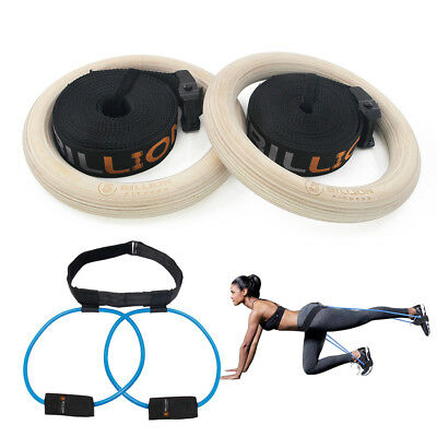 32mm Wooden Gymnastic Rings With Booty Band Olympic Gym fitness Training Exercis