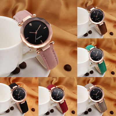 Fashion Women Ladies Leather Band Casual Watch Analog Quartz Crystal Wristwatch
