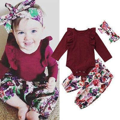 AU 3PCS Newborn Baby Girls Cotton Tops Romper Floral Pants Outfits Set Clothes