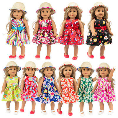 Fashion Clothes Dress Skirt Shoes Hat For 18 Inch American Girl Doll Clothes Set
