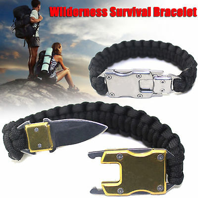 Outdoor Survival Paracord Bracelet Knife Emergency For Camping Hiking 8 Colors