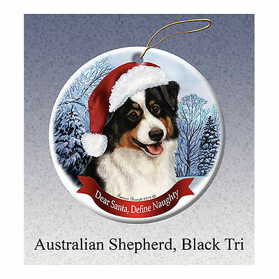 Australian Shepherd Black Tri Howliday Porcelain China Dog Christmas Ornament