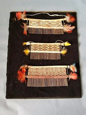 Collection Of Woven Split Reed, Bone & Feather Combs, Unusual Detailed Work