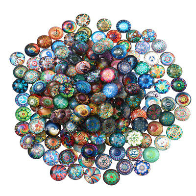 100pcs Mosaic Tiles Glass Round Mixed Clear Glass for Handmade Crafts DIY